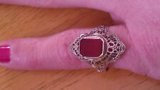 14K White Gold Art Deco Filigree  Red Stone Ruby? Cocktail Ring Stunning!