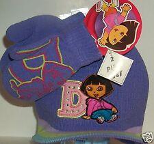 2417f71015906 Toddler Girls Nickelodeon Dora the Explorer Purple & Pink Beanie hat  Mittens Set