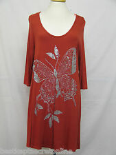PLUS SIZE TOP MARINA KANEVA BUTTERFLY PRINT SEQUIN BEAD EMBELLISHED