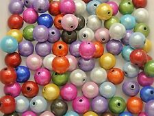 50 Mixed Color 3D Illusion Acrylic Miracle Round beads 10mm Spacer Craft DIY