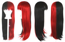 27'' Long Straight Split w/ Short Bangs Half Black Half Red Cosplay Wig NEW