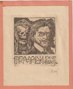 """Ex libris Art Deco """"Self-portrait with death"""" by MALY FRANTISEK /1882-1952/Czech"""