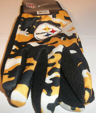 Pittsburgh Steelers Team Gloves NFL Utility Winter Mens SZ Pebble Grip Forever