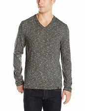 [13575] DKNY JEANS MEN'S LONG SLEEVE SPACE DYE END V-NECK SWEATER BLACK SM $69