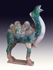A Chinese Tang Style San Cai 3 Color Porcelain Pottery Camel Statue 17.1'' Green
