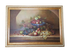 """Large OIL PAINTING ON CANVAS STILL LIFE FRAMED 41 3/8'' x 29.5"""" SIGNED M. AARON"""