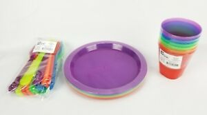 Kids Dinnerware Set Rainbow Colors kids BPA Free 6 Cups, Plates, Spoons & Forks