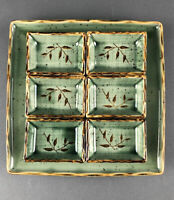 Sushi Plate and Dipping Sauce rectangle bowls Green 7 Pc. Set Japan