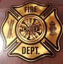 "Chief, Fire Dept. Firefighter, 23k Gold Decal,  3.25""  #FD04"