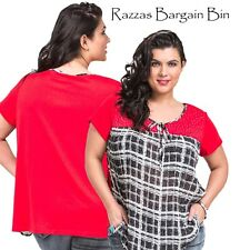 New Ladies Red Top With A Tie Neck Top Plus Size 18/1XL (9769)KR