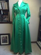 Green Satin Hostess Formal Mother of the Bride Dress Large Vintage Party Holiday
