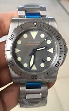 HELSON Shark Diver 42 Custom SS Grey Steel Bezel 24 Jewel Japanese Miyota 9015