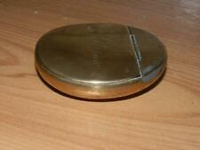 "ANTIQUE SOLID BRASS OVAL HINGED LID SNUFF BOX TIN ""G WILLIAMS"""