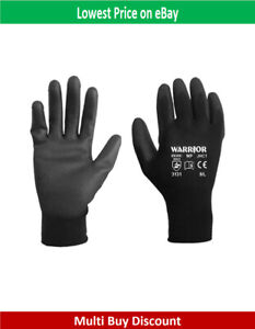 PU Coated Polyester Work Gloves for Gardening, Builders, Black, Grey, White