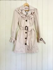 REVIEW Sz 10 Cream Ivory Ecru Trench Style Coat Belted Pockets Lined EUC