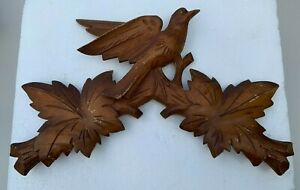 Antique Hand Carved Wood Cuckoo Clock Topper German Black Forest 13.75 Inches