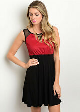 Cocktail Dress Sparking Red and Black Skirt size 12P