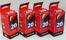 Lot of 4 Genuine Lexmark 20 Color Ink Cartridges 15M0120 P700 P3100 Z12 Z22 Z32