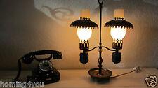 Lampe Tischlampe Bronze Glas Zylinder Kupfer 2 armig Petroleum Leuchte