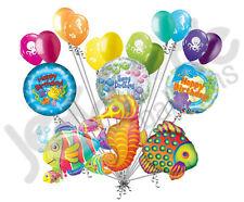 18 pc Tropical Fish & Seahorse Happy Birthday Balloon Bouquet Decoration Ocean