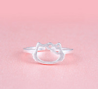 "925 Sterling Silver Super Adorable Cat Kitten ""Hello Kitty"" Adjustable Ring!"