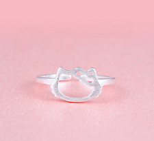 """925 Sterling Silver Super Adorable Cat Kitten """"Hello Kitty"""" Adjustable Ring!"""