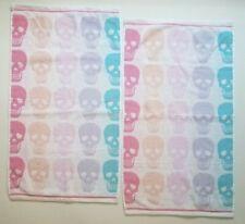 BETSEY JOHNSON Halloween Rainbow Skull Terry Bath Hand Towels Kaleidaskull Set 2