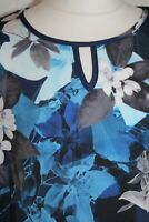 Ladies Blue Floral Keyhole Neck Tunic Top Size Medium 12 14 CLEARANCE