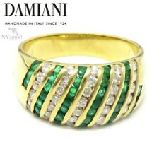NYJEWEL Damiani 18k Yellow Gold 1.1ctw Emerald & Diamond Band Ring