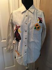 Exclusive Design, Orig Handmade Wearable Art Crow Sunflower Shirt, FREE SHIPPING