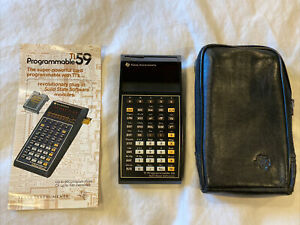 TI-59 Programmable Calculator + Case, Manual, Master Library Mod *Needs New Batt