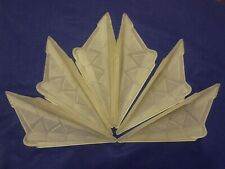 """Art Deco Glass Slip Shades Lot 6 Matching 12"""" Long Shades only for Chandelier"""