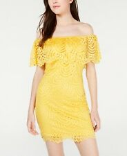 Material Girl Juniors Off-the-Shoulder Lace Ruffle Bodycon Dress 0X 59.50