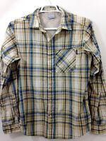 Columbia Insect Blocker Vented Shirt Mens Medium Tan Blue White Plaid L/S