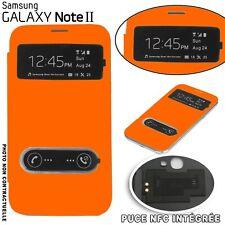 Flip Cover Fenêtre Orange Samsung Galaxy Note 2 Puce NFC intégrée Film Offert Or