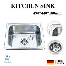 490x440mm Square Laundry Kitchen Sink Slim Stainless steel  Undermount Topmount