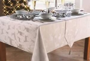 Silver Stag Christmas Tablecloths Xmas Various Sizes