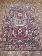 Carpet Traditional Motif Handmade Area Rug 4' x 6' Kazak Basement