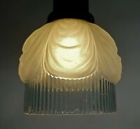 Original Antique 1920s Art Deco Opaque Frosted Clear Glass Lamp Fitter Shade