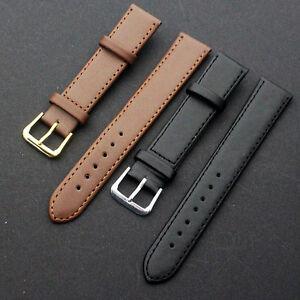 New Leather Black Brown Wristwatch Watch Strap Band Women Men