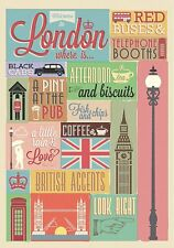 LONDON Wall Decals Signs Flag Clock Tower Room Decor Stickers Decorations