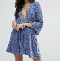 Free People XS Tallula Tunic Mini Dress Top Blue Floral Plunge V-Neck