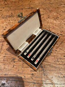 Set 4 Art Deco Retractable Sterling Silver Cards Bridge Pencils & Original Case
