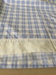 Vintage Laura Ashley Full FLAT Sheet White & Blue Quartet Hampton Plaid, MINT