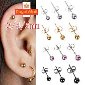 Set of 3 Paris Smooth Ball Hypoallergenic Titanium Stud Ear Earrings 3~5 MM UK Y