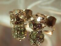 Vintage 1960's Gorgeous Sparkling Rhinestone Disco Ball Clip On Earrings 690jl9