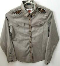 Roar Ladies Sz L Long Sleeve Sequin and Rhinestone Distressed Shirt