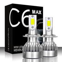 2Pcs 200W 28000LM H7 Car COB LED Conversion Headlight Bulb Kit 6000K White Beams