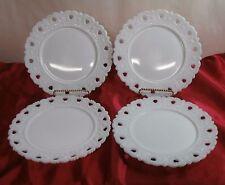 "Kemple Milk Glass Open Heart Lace Edge 7 3/8"" Plates Set of 4"
