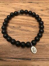 Handmade Beaded Bracelet Black Onyx Miraculous Medal Unisex Christmas Gift